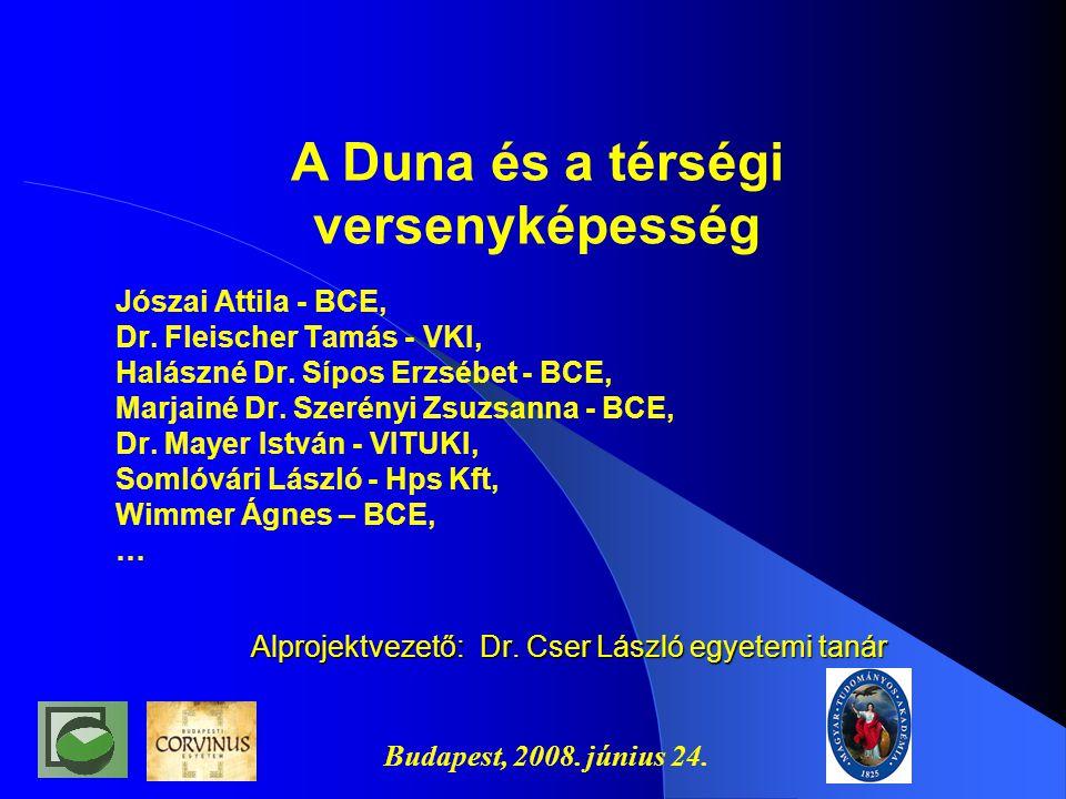 Budapest, 2008.június 24. Alprojektvezető: Dr. Cser László egyetemi tanár Jószai Attila - BCE, Dr.