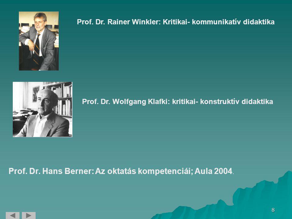 8 Prof. Dr. Hans Berner: Az oktatás kompetenciái; Aula 2004. Prof. Dr. Wolfgang Klafki: kritikai- konstruktív didaktika Prof. Dr. Rainer Winkler: Krit