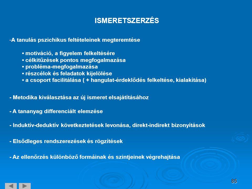 85 ISMERETSZERZÉS -A tanulás pszichikus feltételeinek megteremtése • motiváció, a figyelem felkeltésére • célkitűzések pontos megfogalmazása • problém