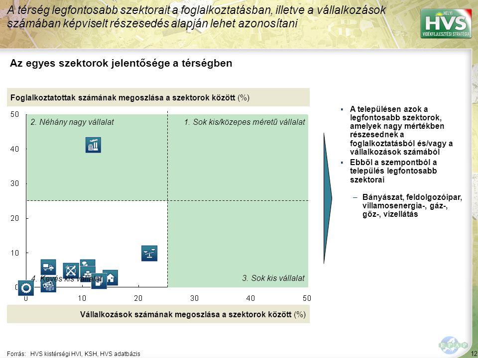 12 Forrás:HVS kistérségi HVI, KSH, HVS adatbázis Az egyes szektorok jelentősége a térségben A térség legfontosabb szektorait a foglalkoztatásban, illetve a vállalkozások számában képviselt részesedés alapján lehet azonosítani Foglalkoztatottak számának megoszlása a szektorok között (%) Vállalkozások számának megoszlása a szektorok között (%) ▪A településen azok a legfontosabb szektorok, amelyek nagy mértékben részesednek a foglalkoztatásból és/vagy a vállalkozások számából ▪Ebből a szempontból a település legfontosabb szektorai –Bányászat, feldolgozóipar, villamosenergia-, gáz-, gőz-, vízellátás 1.