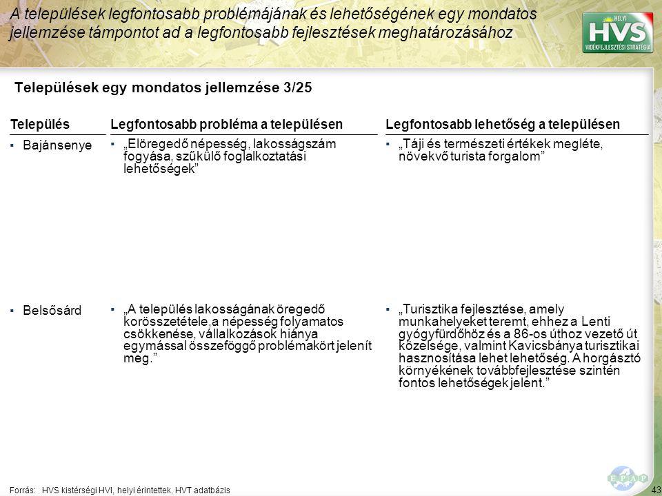"""43 Települések egy mondatos jellemzése 3/25 A települések legfontosabb problémájának és lehetőségének egy mondatos jellemzése támpontot ad a legfontosabb fejlesztések meghatározásához Forrás:HVS kistérségi HVI, helyi érintettek, HVT adatbázis TelepülésLegfontosabb probléma a településen ▪Bajánsenye ▪""""Elöregedő népesség, lakosságszám fogyása, szűkülő foglalkoztatási lehetőségek ▪Belsősárd ▪""""A település lakosságának öregedő korösszetétele,a népesség folyamatos csökkenése, vállalkozások hiánya egymással összeföggő problémakört jelenít meg. Legfontosabb lehetőség a településen ▪""""Táji és természeti értékek megléte, növekvő turista forgalom ▪""""Turisztika fejlesztése, amely munkahelyeket teremt, ehhez a Lenti gyógyfürdőhöz és a 86-os úthoz vezető út közelsége, valmint Kavicsbánya turisztikai hasznosítása lehet lehetőség."""
