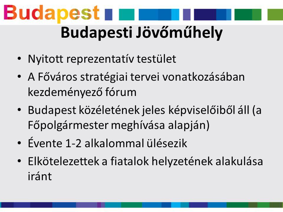 Budapesti Jövőműhely • Nyitott reprezentatív testület • A Főváros stratégiai tervei vonatkozásában kezdeményező fórum • Budapest közéletének jeles képviselőiből áll (a Főpolgármester meghívása alapján) • Évente 1-2 alkalommal ülésezik • Elkötelezettek a fiatalok helyzetének alakulása iránt
