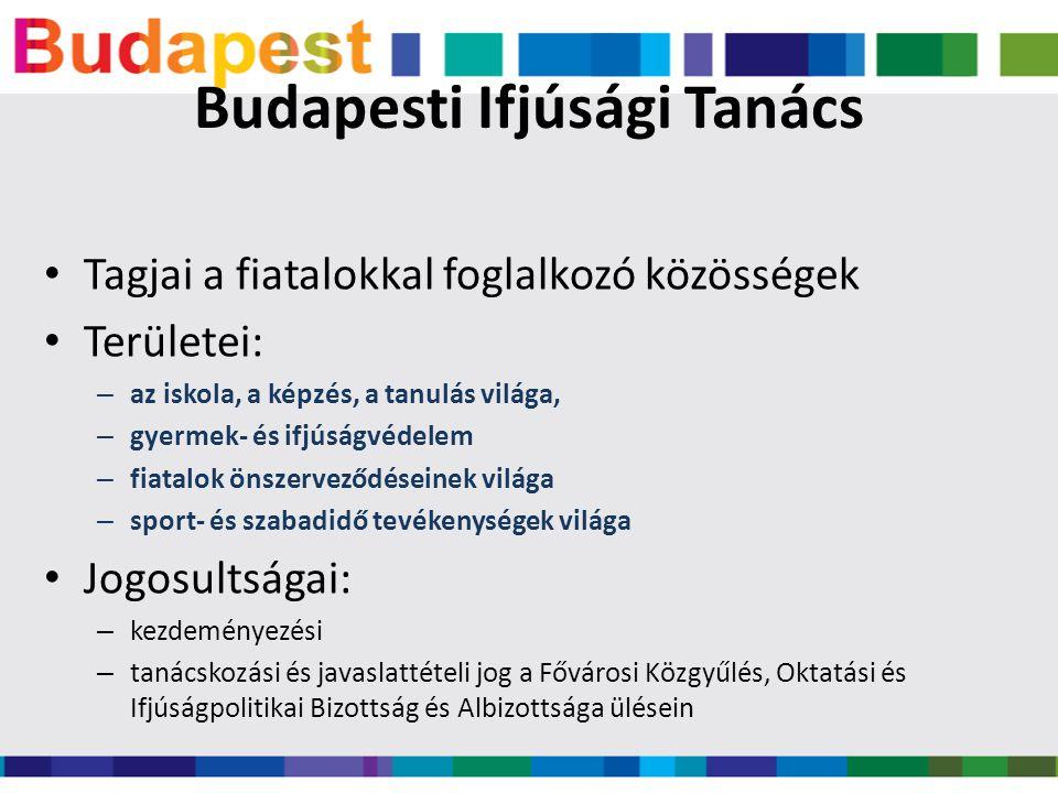 Budapesti Ifjúsági Tanács • Tagjai a fiatalokkal foglalkozó közösségek • Területei: – az iskola, a képzés, a tanulás világa, – gyermek- és ifjúságvédelem – fiatalok önszerveződéseinek világa – sport- és szabadidő tevékenységek világa • Jogosultságai: – kezdeményezési – tanácskozási és javaslattételi jog a Fővárosi Közgyűlés, Oktatási és Ifjúságpolitikai Bizottság és Albizottsága ülésein