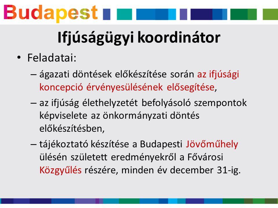 Ifjúságügyi koordinátor • Feladatai: – ágazati döntések előkészítése során az ifjúsági koncepció érvényesülésének elősegítése, – az ifjúság élethelyzetét befolyásoló szempontok képviselete az önkormányzati döntés előkészítésben, – tájékoztató készítése a Budapesti Jövőműhely ülésén született eredményekről a Fővárosi Közgyűlés részére, minden év december 31-ig.