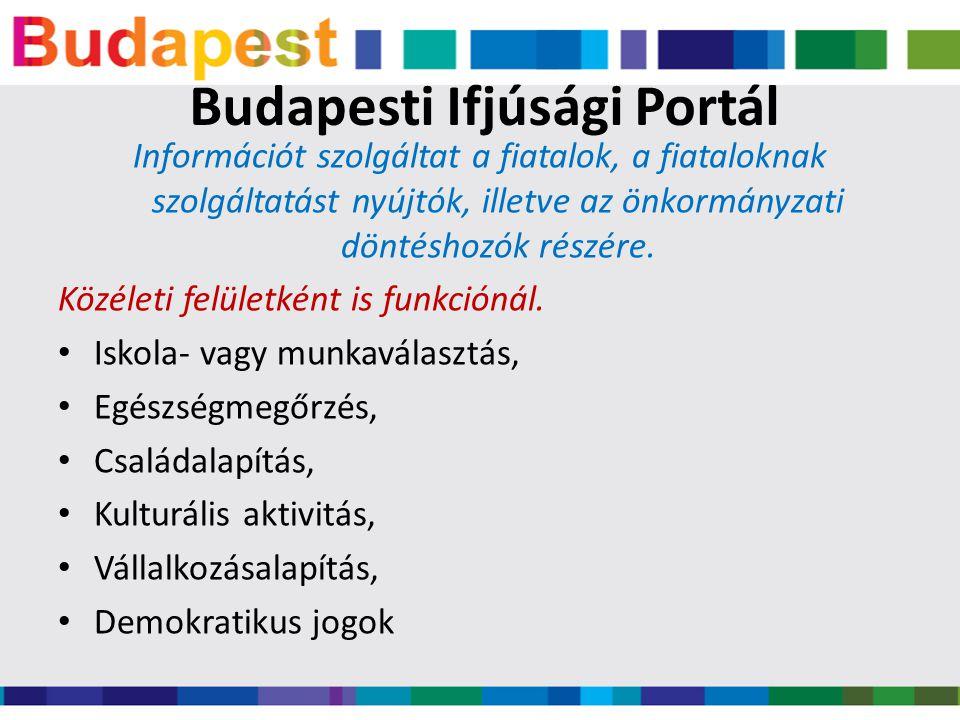 Budapesti Ifjúsági Portál Információt szolgáltat a fiatalok, a fiataloknak szolgáltatást nyújtók, illetve az önkormányzati döntéshozók részére.