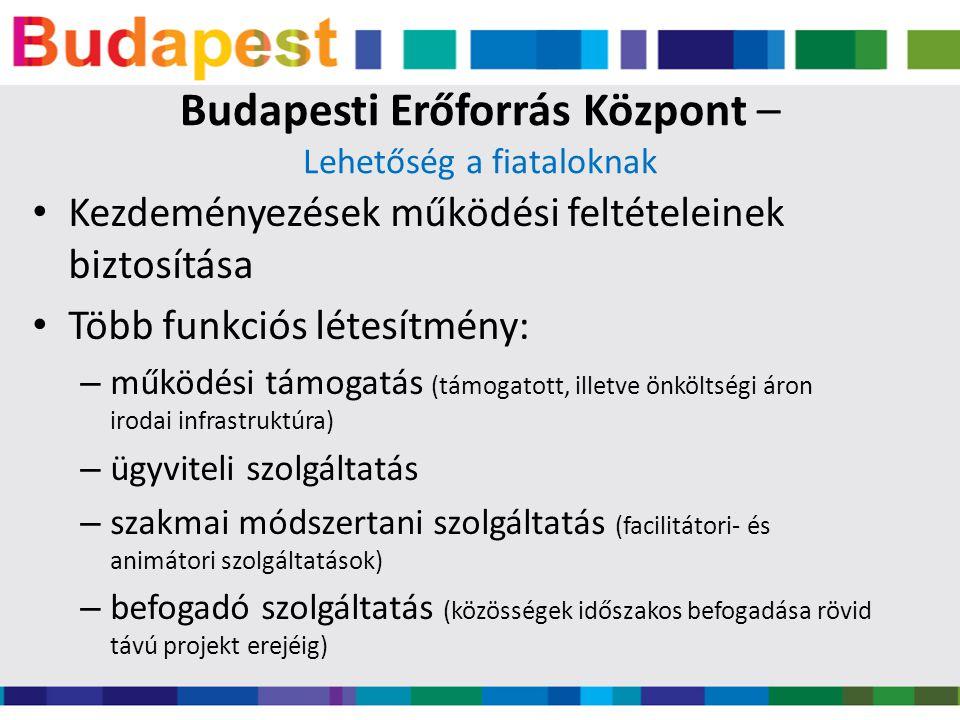 Budapesti Erőforrás Központ – Lehetőség a fiataloknak • Kezdeményezések működési feltételeinek biztosítása • Több funkciós létesítmény: – működési támogatás (támogatott, illetve önköltségi áron irodai infrastruktúra) – ügyviteli szolgáltatás – szakmai módszertani szolgáltatás (facilitátori- és animátori szolgáltatások) – befogadó szolgáltatás (közösségek időszakos befogadása rövid távú projekt erejéig)