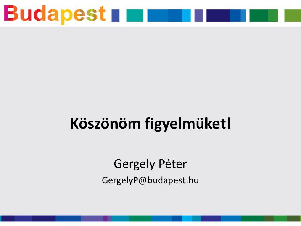 Köszönöm figyelmüket! Gergely Péter GergelyP@budapest.hu