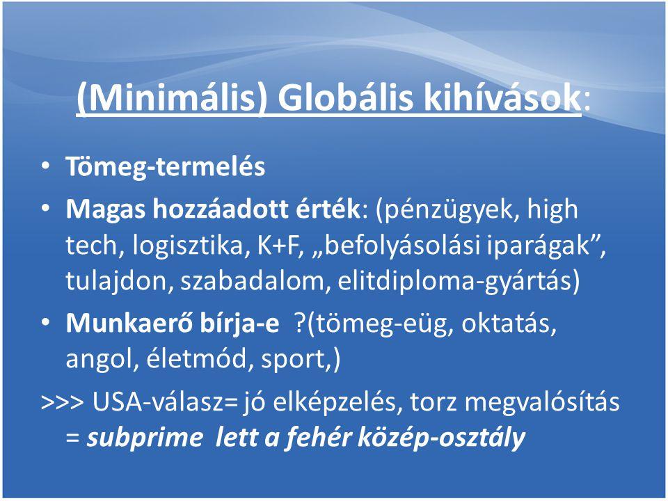 """(Minimális) Globális kihívások: • Tömeg-termelés • Magas hozzáadott érték: (pénzügyek, high tech, logisztika, K+F, """"befolyásolási iparágak , tulajdon, szabadalom, elitdiploma-gyártás) • Munkaerő bírja-e (tömeg-eüg, oktatás, angol, életmód, sport,) >>> USA-válasz= jó elképzelés, torz megvalósítás = subprime lett a fehér közép-osztály"""