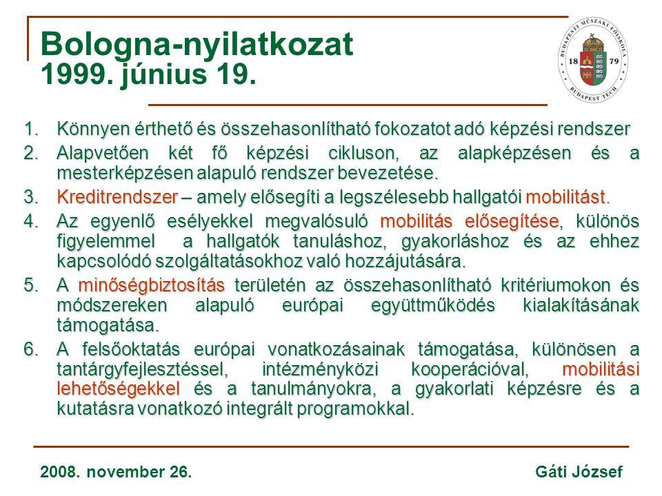 2008. november 26. Gáti József Bologna-nyilatkozat 1999. június 19. 1.Könnyen érthető és összehasonlítható fokozatot adó képzési rendszer 2.Alapvetően