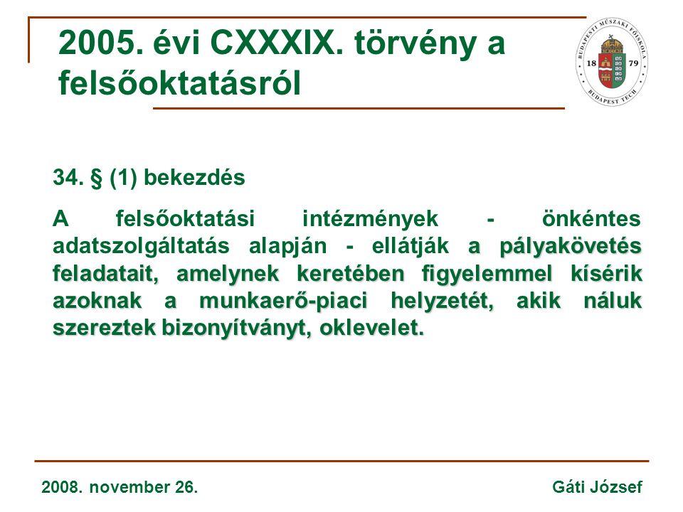 2008. november 26. Gáti József 34. § (1) bekezdés a pályakövetés feladatait, amelynek keretében figyelemmel kísérik azoknak a munkaerő-piaci helyzetét