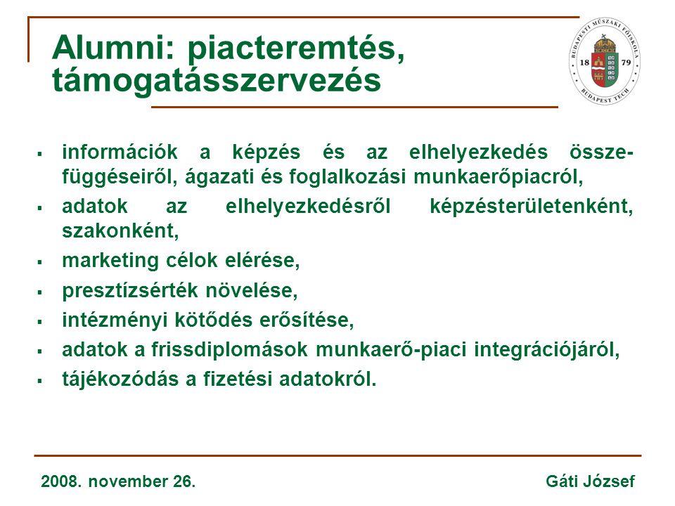 2008. november 26. Gáti József  információk a képzés és az elhelyezkedés össze- függéseiről, ágazati és foglalkozási munkaerőpiacról,  adatok az elh