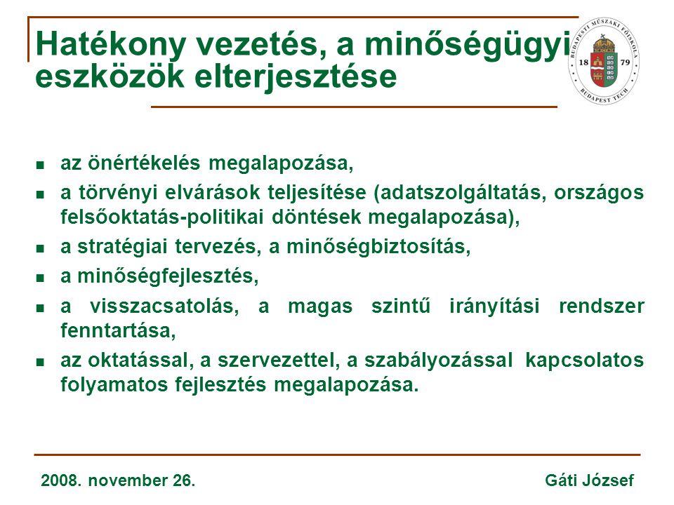 2008. november 26. Gáti József Hatékony vezetés, a minőségügyi eszközök elterjesztése  az önértékelés megalapozása,  a törvényi elvárások teljesítés