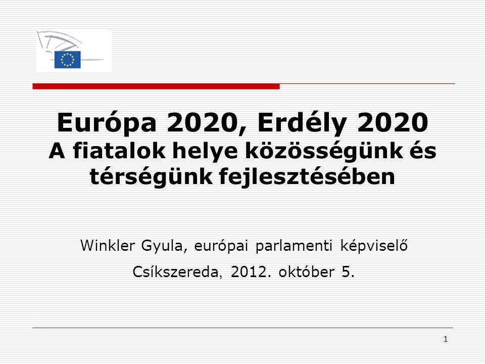 1 Európa 2020, Erdély 2020 A fiatalok helye közösségünk és térségünk fejlesztésében Winkler Gyula, európai parlamenti képviselő Csíkszereda, 2012. okt