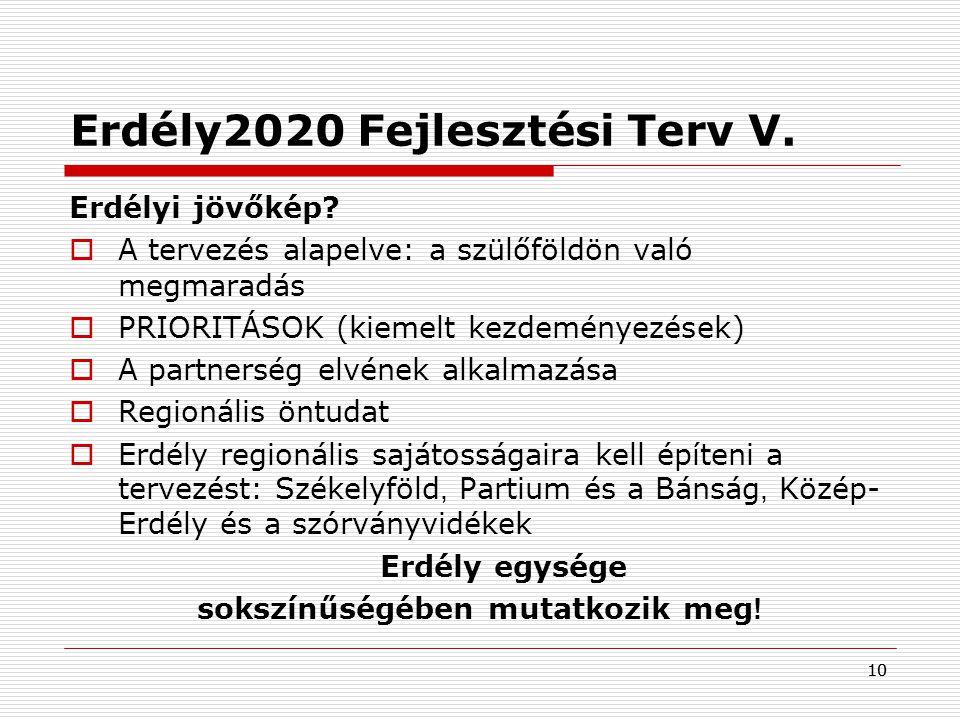 10 Erdély2020 Fejlesztési Terv V. Erdélyi jövőkép?  A tervezés alapelve: a szülőföldön való megmaradás  PRIORITÁSOK (kiemelt kezdeményezések)  A pa