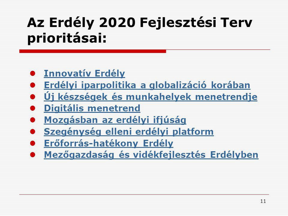 11 Az Erdély 2020 Fejlesztési Terv prioritásai:  Innovatív Erdély Innovatív Erdély  Erdélyi iparpolitika a globalizáció korában Erdélyi iparpolitika