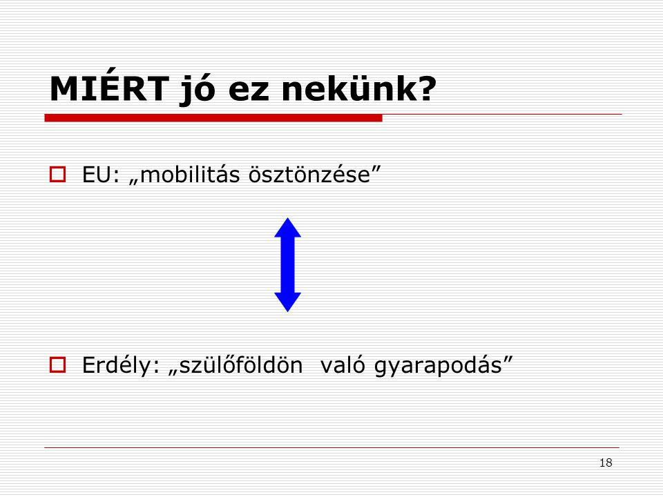 """18 MIÉRT jó ez nekünk?  EU: """"mobilitás ösztönzése""""  Erdély: """"szülőföldön való gyarapodás"""""""