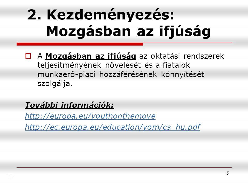 5 5 2. Kezdeményezés: Mozgásban az ifjúság  A Mozgásban az ifjúság az oktatási rendszerek teljesítményének növelését és a fiatalok munkaerő-piaci hoz