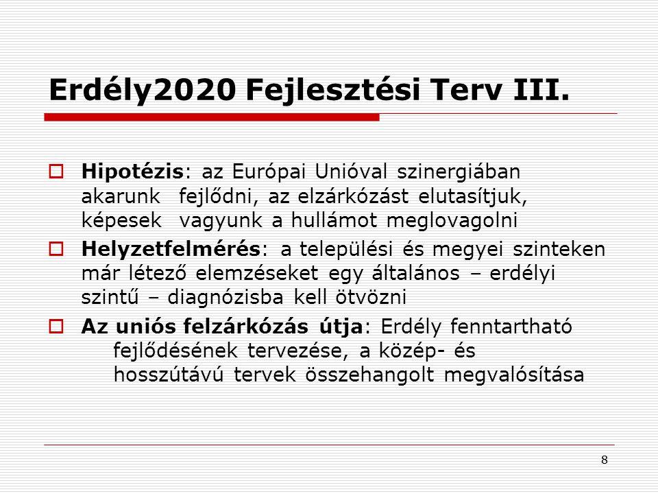 88 Erdély2020 Fejlesztési Terv III.  Hipotézis: az Európai Unióval szinergiában akarunk fejlődni, az elzárkózást elutasítjuk, képesek vagyunk a hullá