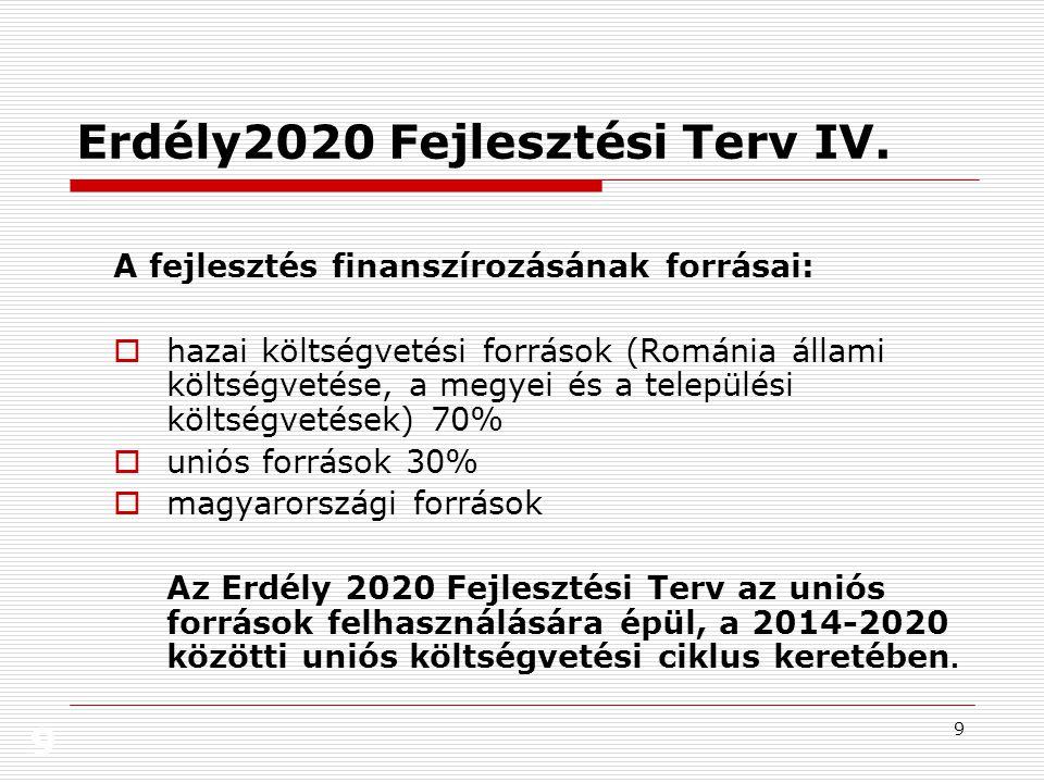 9 9 Erdély2020 Fejlesztési Terv IV. A fejlesztés finanszírozásának forrásai:  hazai költségvetési források (Románia állami költségvetése, a megyei és