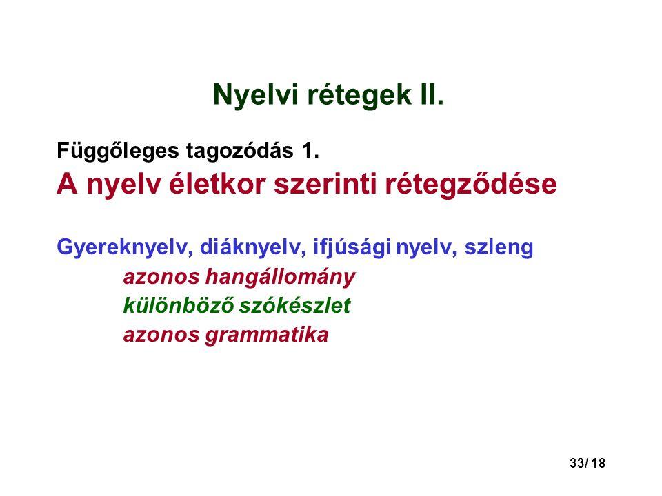 33/ 18 Nyelvi rétegek II.Függőleges tagozódás 1.