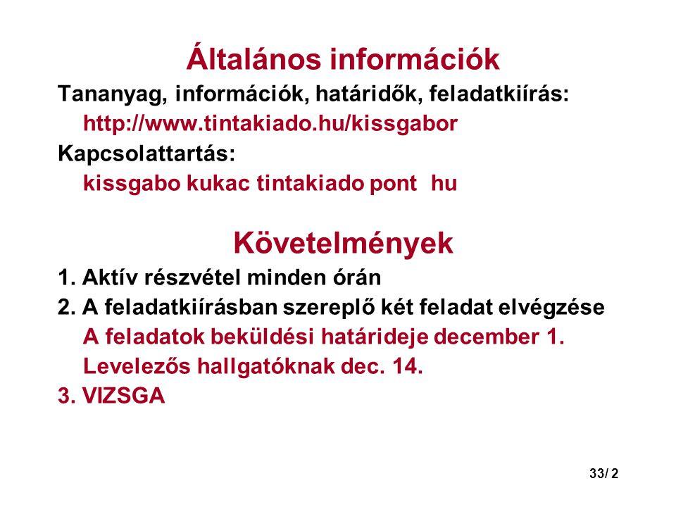 33/ 2 Általános információk Tananyag, információk, határidők, feladatkiírás: http://www.tintakiado.hu/kissgabor Kapcsolattartás: kissgabo kukac tintakiado pont hu Követelmények 1.