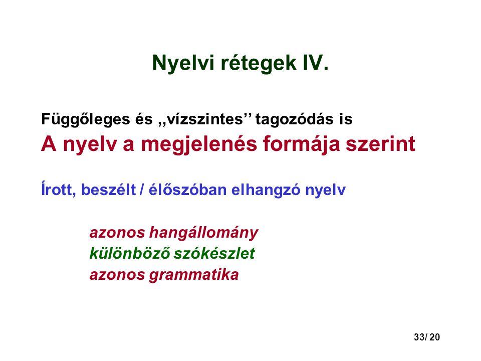 33/ 20 Nyelvi rétegek IV.