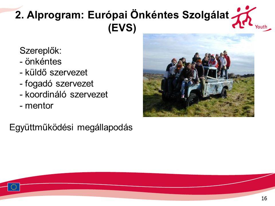 16 2. Alprogram: Európai Önkéntes Szolgálat (EVS) Szereplők: - önkéntes - küldő szervezet - fogadó szervezet - koordináló szervezet - mentor Együttműk