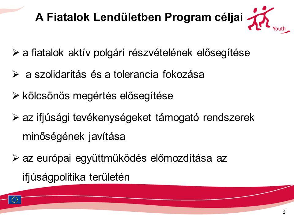 4 Fiatalok Lendületben Program Prioritásai 1.Európa polgárság 2.A fiatalok részvétele 3.Kulturális sokszínűség 4.