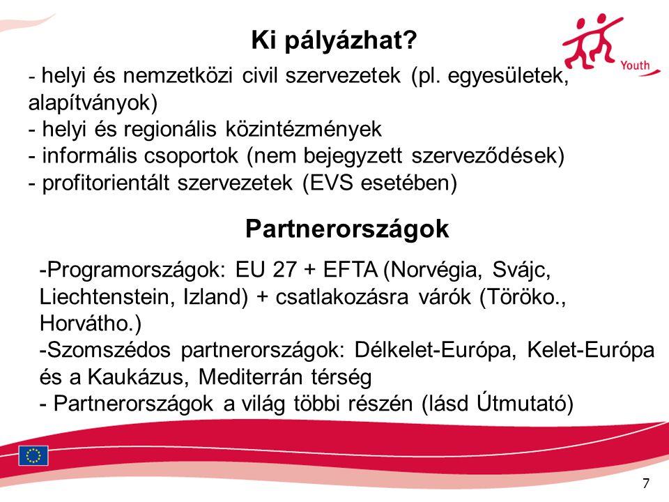 7 Ki pályázhat? - helyi és nemzetközi civil szervezetek (pl. egyesületek, alapítványok) - helyi és regionális közintézmények - informális csoportok (n
