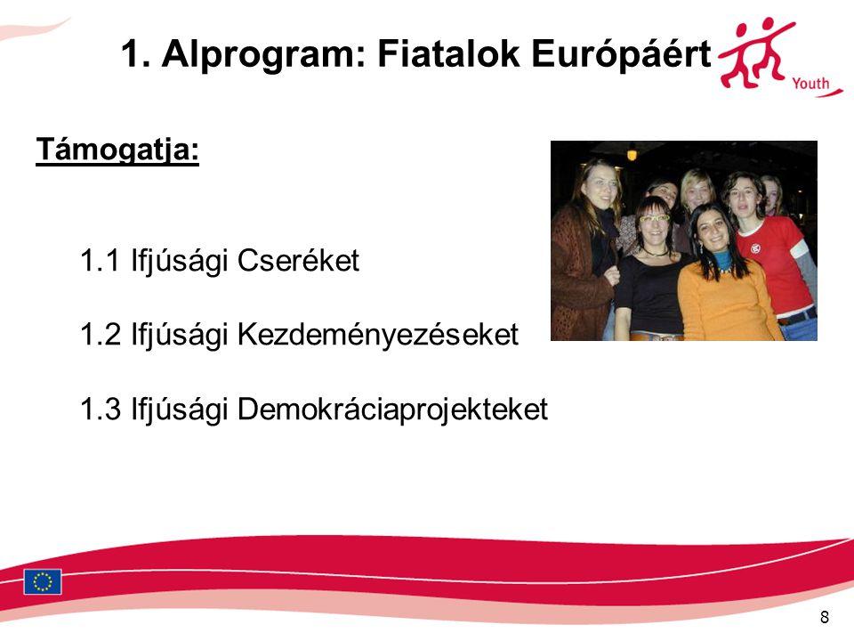 8 1. Alprogram: Fiatalok Európáért Támogatja: 1.1 Ifjúsági Cseréket 1.2 Ifjúsági Kezdeményezéseket 1.3 Ifjúsági Demokráciaprojekteket