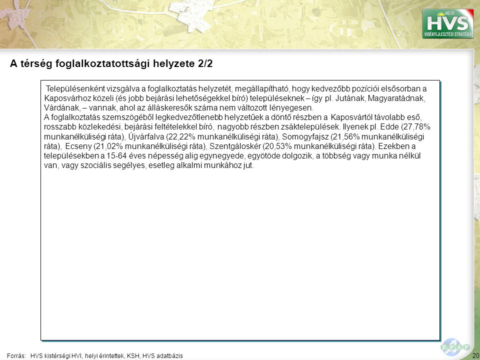 20 Településenként vizsgálva a foglalkoztatás helyzetét, megállapítható, hogy kedvezőbb pozíciói elsősorban a Kaposvárhoz közeli (és jobb bejárási lehetőségekkel bíró) településeknek – így pl.