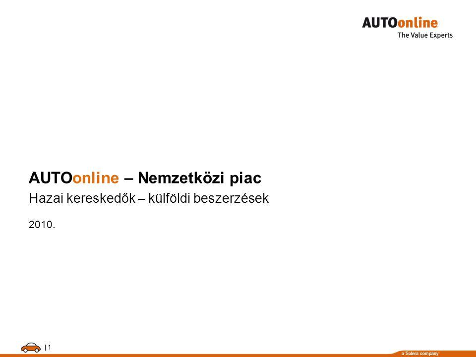 a Solera company 1 I AUTOonline – Nemzetközi piac Hazai kereskedők – külföldi beszerzések 2010.