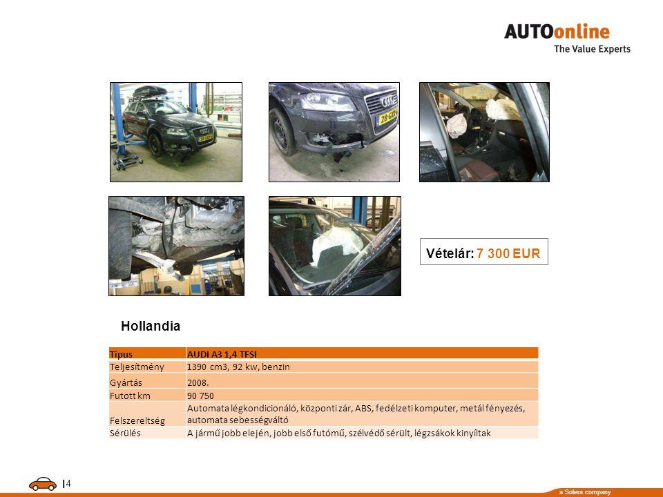 a Solera company I 4 TípusAUDI A3 1,4 TFSI Teljesítmény1390 cm3, 92 kw, benzin Gyártás2008.