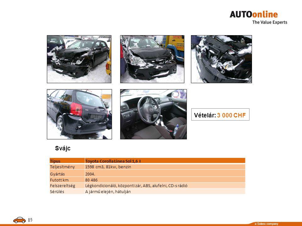 a Solera company I 5 TípusToyota Corolla Linea Sol 1,6 I Teljesítmény1598 cm3, 81kw, benzin Gyártás2004. Futott km80 486 FelszereltségLégkondicionáló,