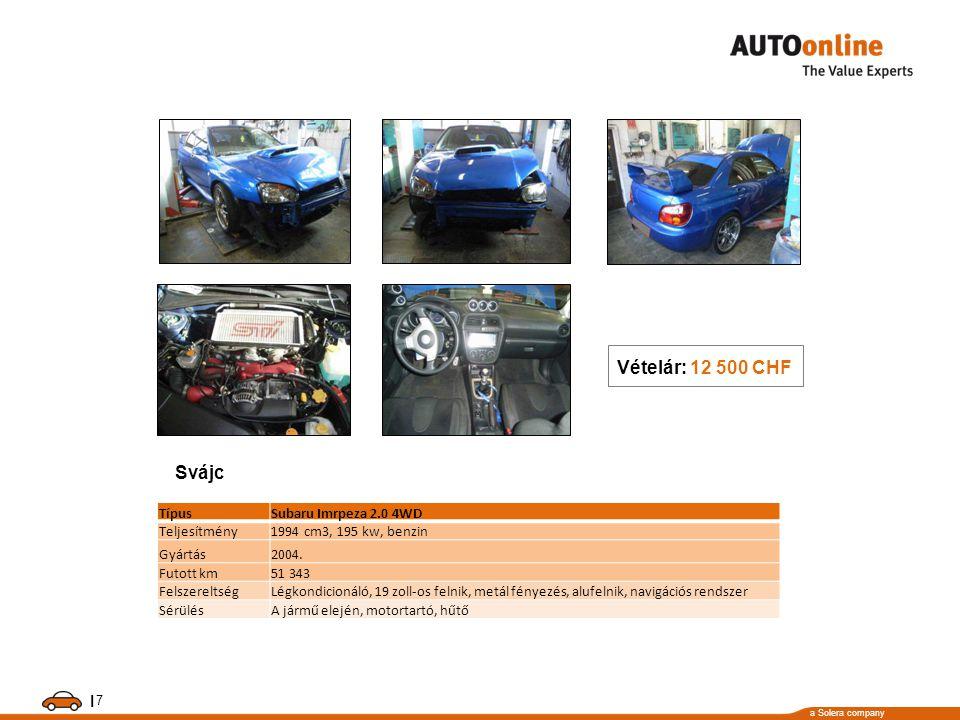a Solera company I 7 TípusSubaru Imrpeza 2.0 4WD Teljesítmény1994 cm3, 195 kw, benzin Gyártás2004. Futott km51 343 FelszereltségLégkondicionáló, 19 zo
