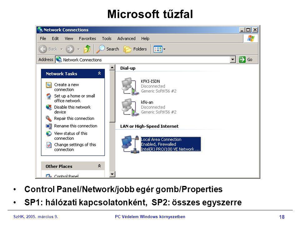 SzHK, 2005. március 9.PC Védelem Windows környezetben 18 Microsoft tűzfal •Control Panel/Network/jobb egér gomb/Properties •SP1: hálózati kapcsolatonk