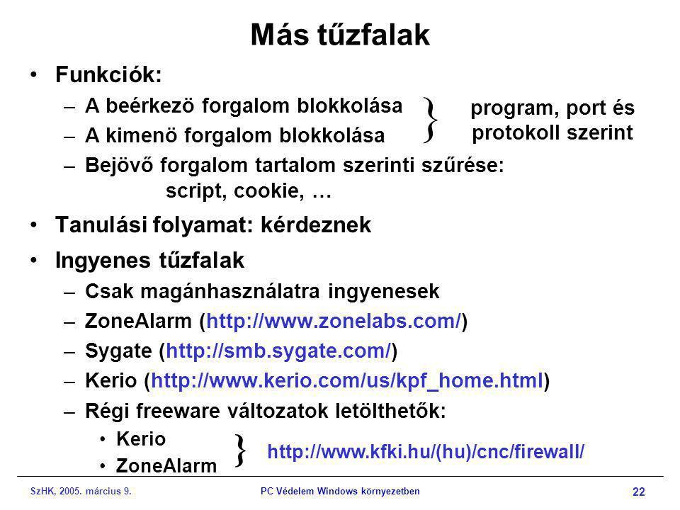 SzHK, 2005. március 9.PC Védelem Windows környezetben 22 Más tűzfalak •Funkciók: –A beérkezö forgalom blokkolása –A kimenö forgalom blokkolása –Bejövő