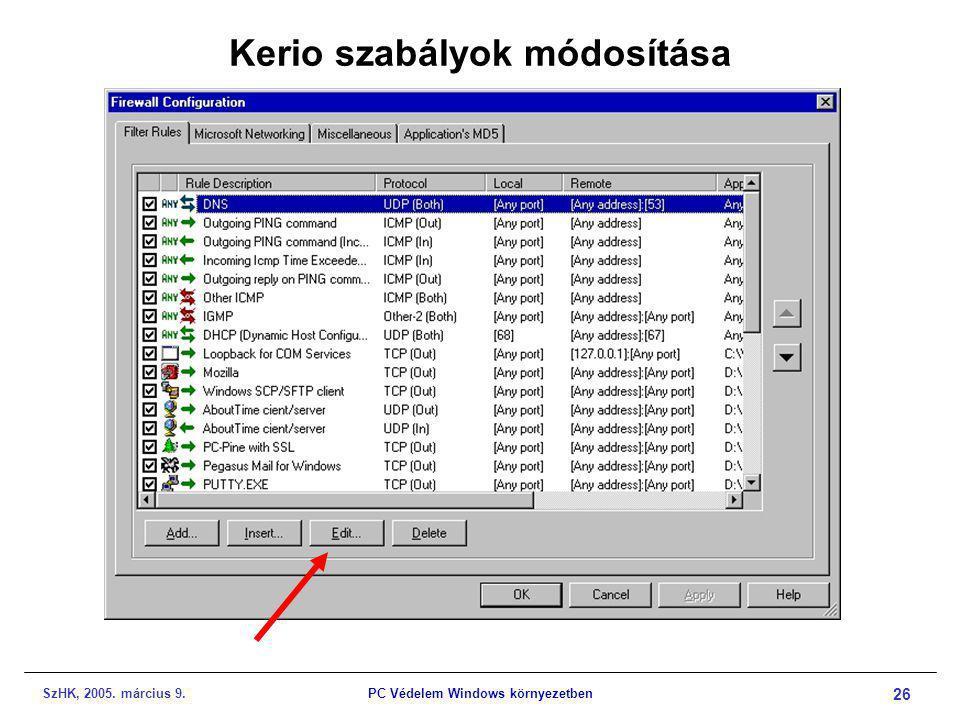 SzHK, 2005. március 9.PC Védelem Windows környezetben 26 Kerio szabályok módosítása