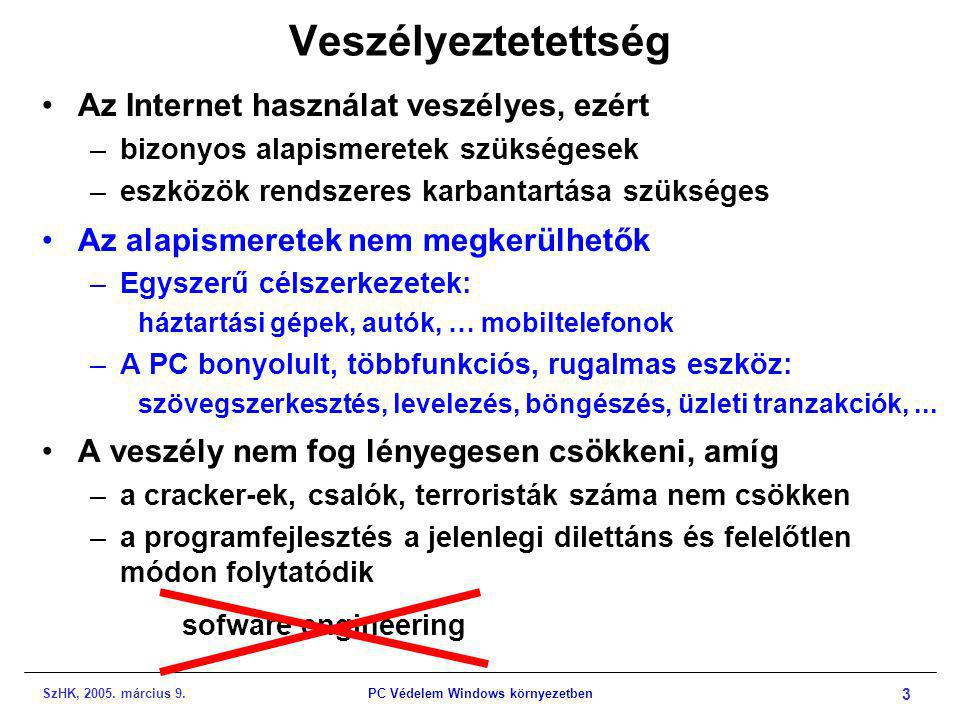 SzHK, 2005. március 9.PC Védelem Windows környezetben 3 Veszélyeztetettség •Az Internet használat veszélyes, ezért –bizonyos alapismeretek szükségesek