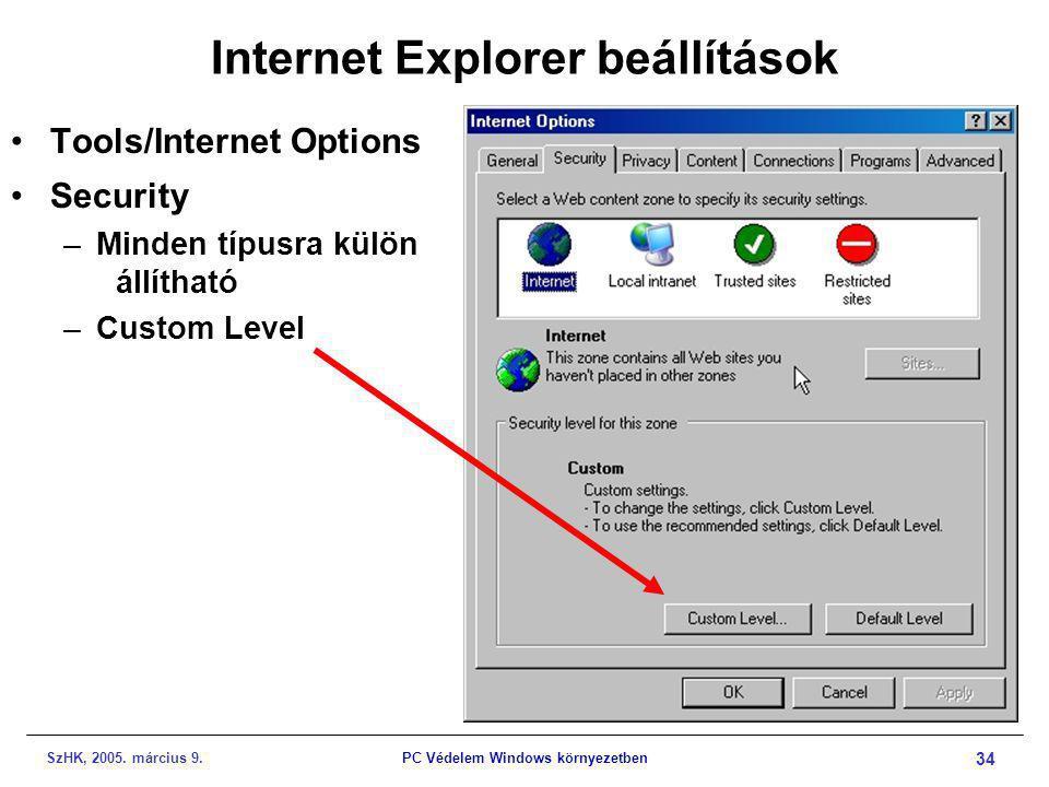 SzHK, 2005. március 9.PC Védelem Windows környezetben 34 Internet Explorer beállítások •Tools/Internet Options •Security –Minden típusra külön állítha