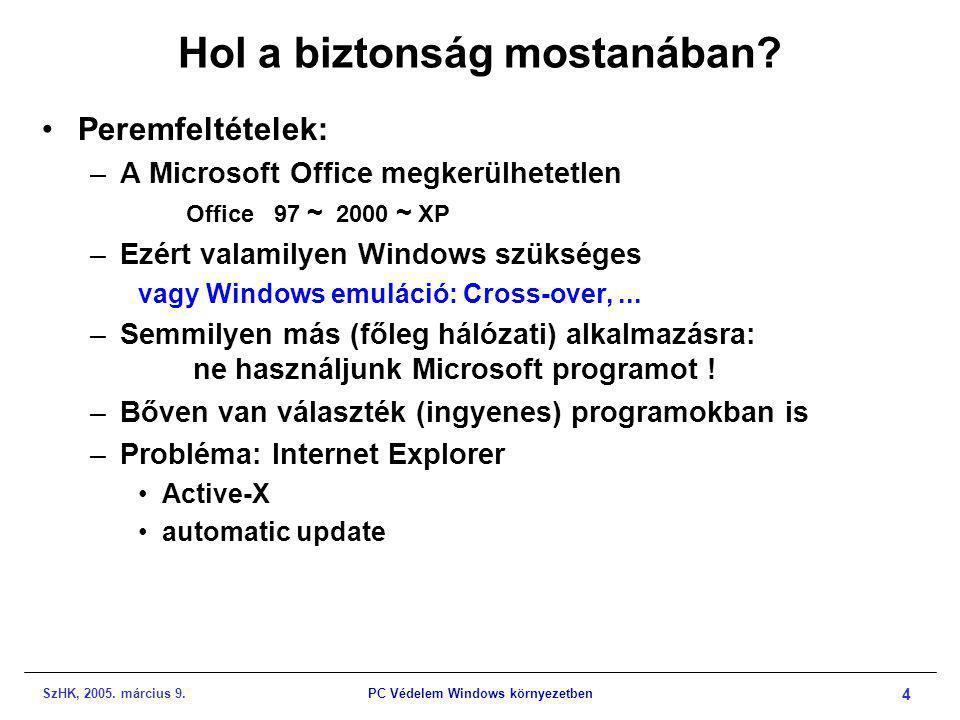 SzHK, 2005. március 9.PC Védelem Windows környezetben 4 Hol a biztonság mostanában? •Peremfeltételek: –A Microsoft Office megkerülhetetlen Office 97 ~