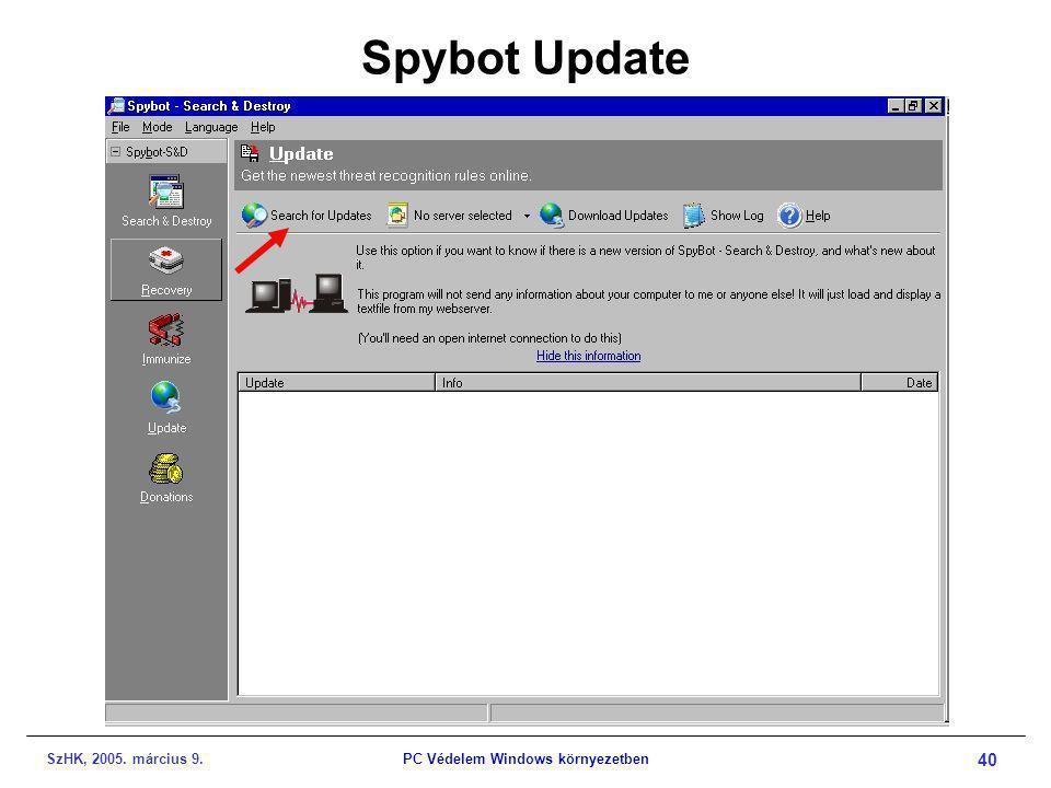 SzHK, 2005. március 9.PC Védelem Windows környezetben 40 Spybot Update