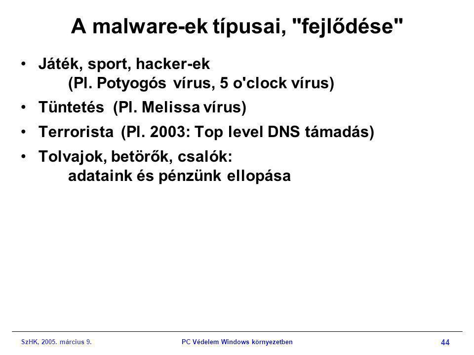 SzHK, 2005. március 9.PC Védelem Windows környezetben 44 A malware-ek típusai,