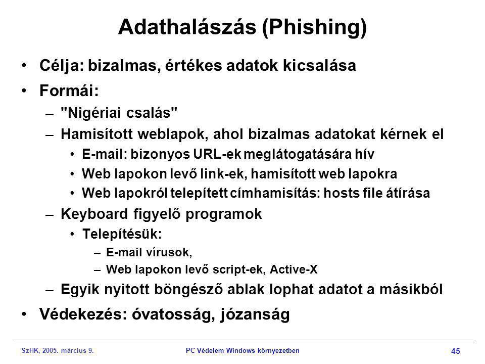 SzHK, 2005. március 9.PC Védelem Windows környezetben 45 Adathalászás (Phishing) •Célja: bizalmas, értékes adatok kicsalása •Formái: –