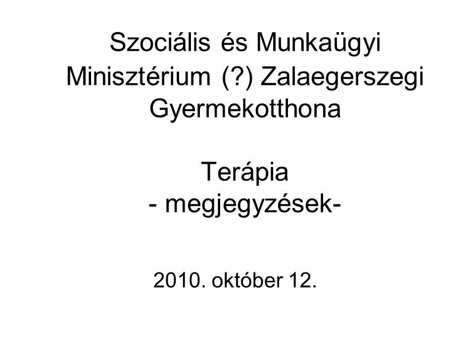 Szociális és Munkaügyi Minisztérium ( ) Zalaegerszegi Gyermekotthona Terápia - megjegyzések- 2010.