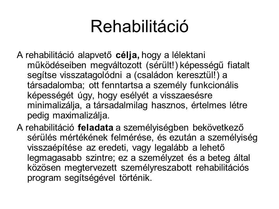Rehabilitáció A rehabilitáció alapvető célja, hogy a lélektani működéseiben megváltozott (sérült!) képességű fiatalt segítse visszatagolódni a (családon keresztül!) a társadalomba; ott fenntartsa a személy funkcionális képességét úgy, hogy esélyét a visszaesésre minimalizálja, a társadalmilag hasznos, értelmes létre pedig maximalizálja.