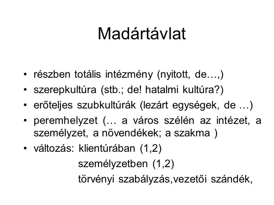 Madártávlat •részben totális intézmény (nyitott, de…,) •szerepkultúra (stb.; de.