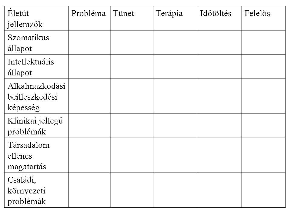 Életút jellemzők ProblémaTünetTerápiaIdőtöltésFelelős Szomatikus állapot Intellektuális állapot Alkalmazkodási beilleszkedési képesség Klinikai jelleg