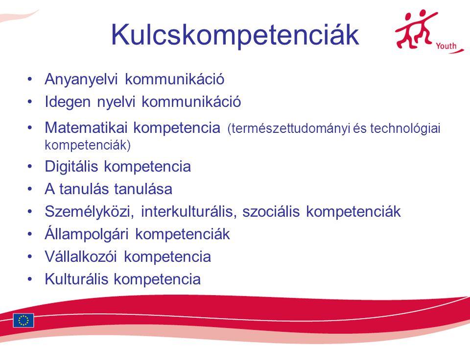 Kulcskompetenciák •Anyanyelvi kommunikáció •Idegen nyelvi kommunikáció •Matematikai kompetencia (természettudományi és technológiai kompetenciák) •Digitális kompetencia •A tanulás tanulása •Személyközi, interkulturális, szociális kompetenciák •Állampolgári kompetenciák •Vállalkozói kompetencia •Kulturális kompetencia