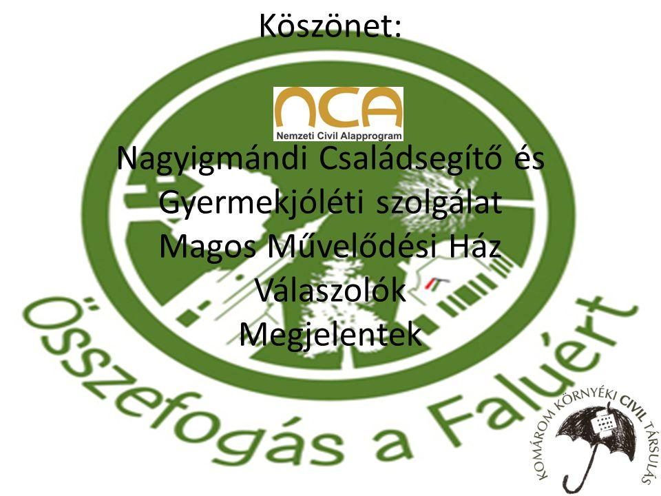 Köszönet: NCA Nagyigmándi Családsegítő és Gyermekjóléti szolgálat Magos Művelődési Ház Válaszolók Megjelentek